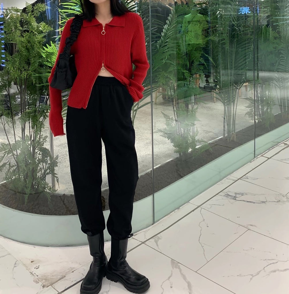 Two Way Zipper Knit Top - Red-MARVOUS WEAR