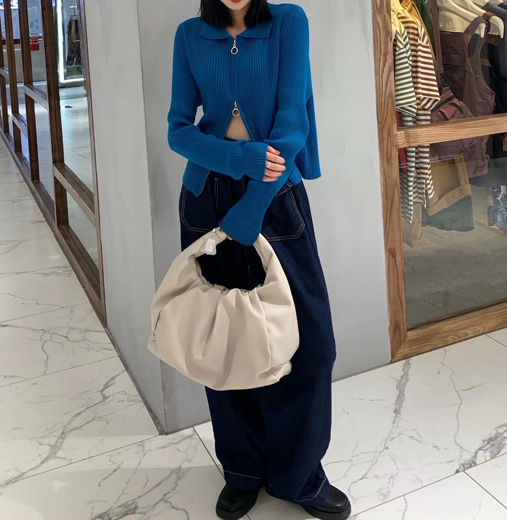 Two Way Zipper Knit Top - Blue-MARVOUS WEAR