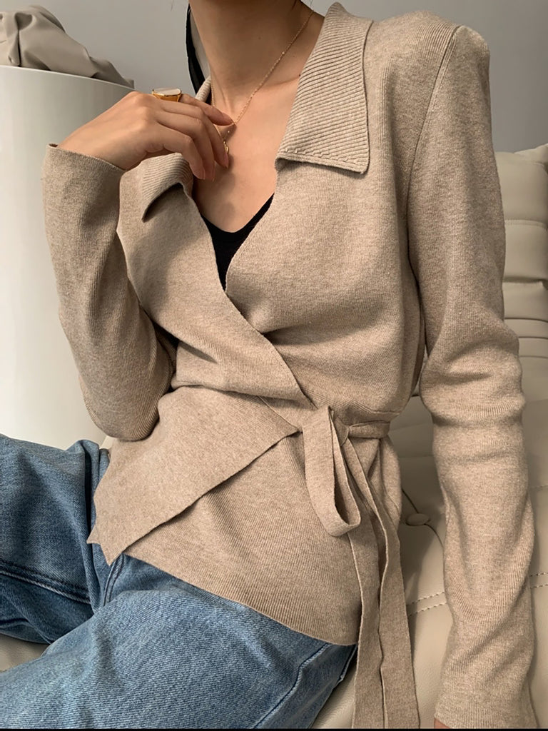 Front Wrap Cashmere Knit Cardigan Top-Marvous Wear