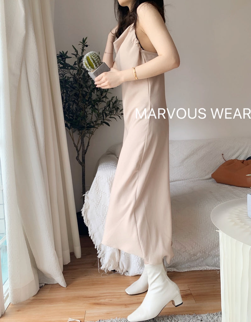 Ivory Slip Dress-MARVOUS WEAR