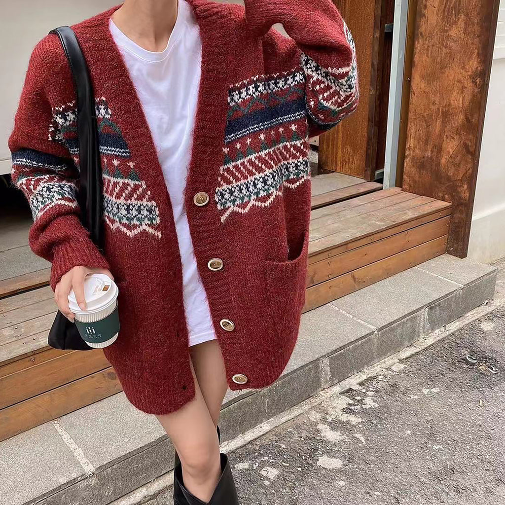 Boho Santa Oversized Long Cardigan-Marvous Wear