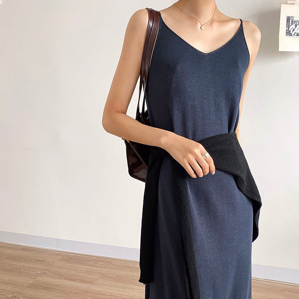 V Neck Knit Dress - Navy-MARVOUS WEAR