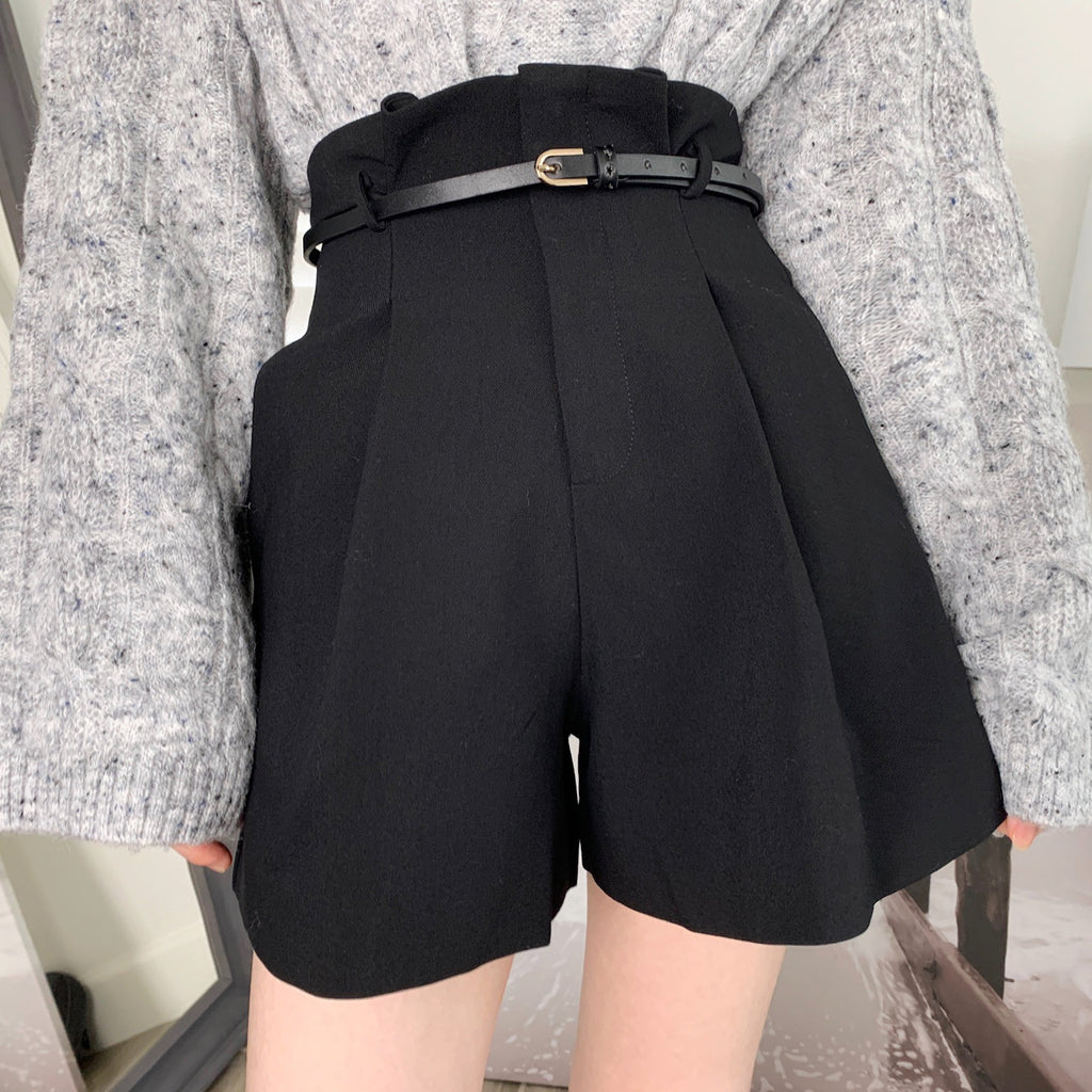 Ruffle Shorts With Belt - Black-MARVOUS WEAR
