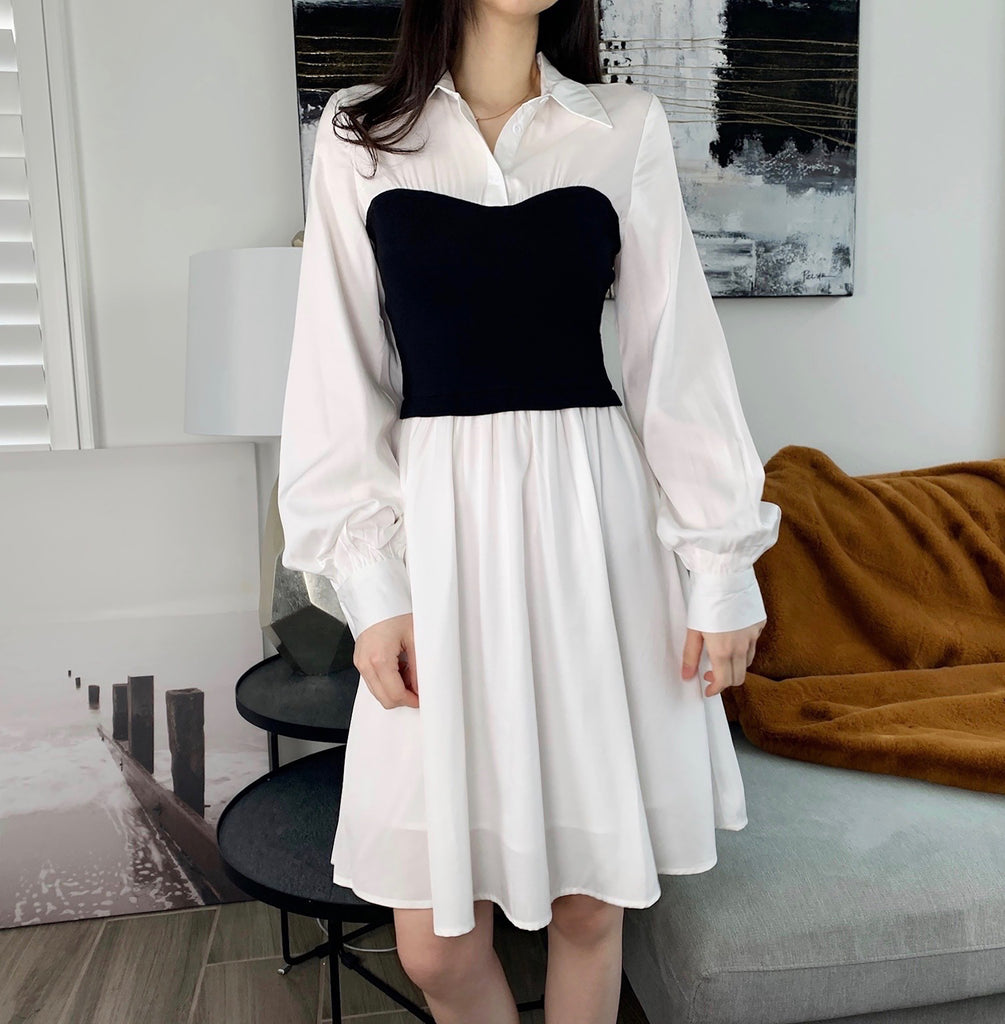 Knee Length Shirt Dress-MARVOUS WEAR