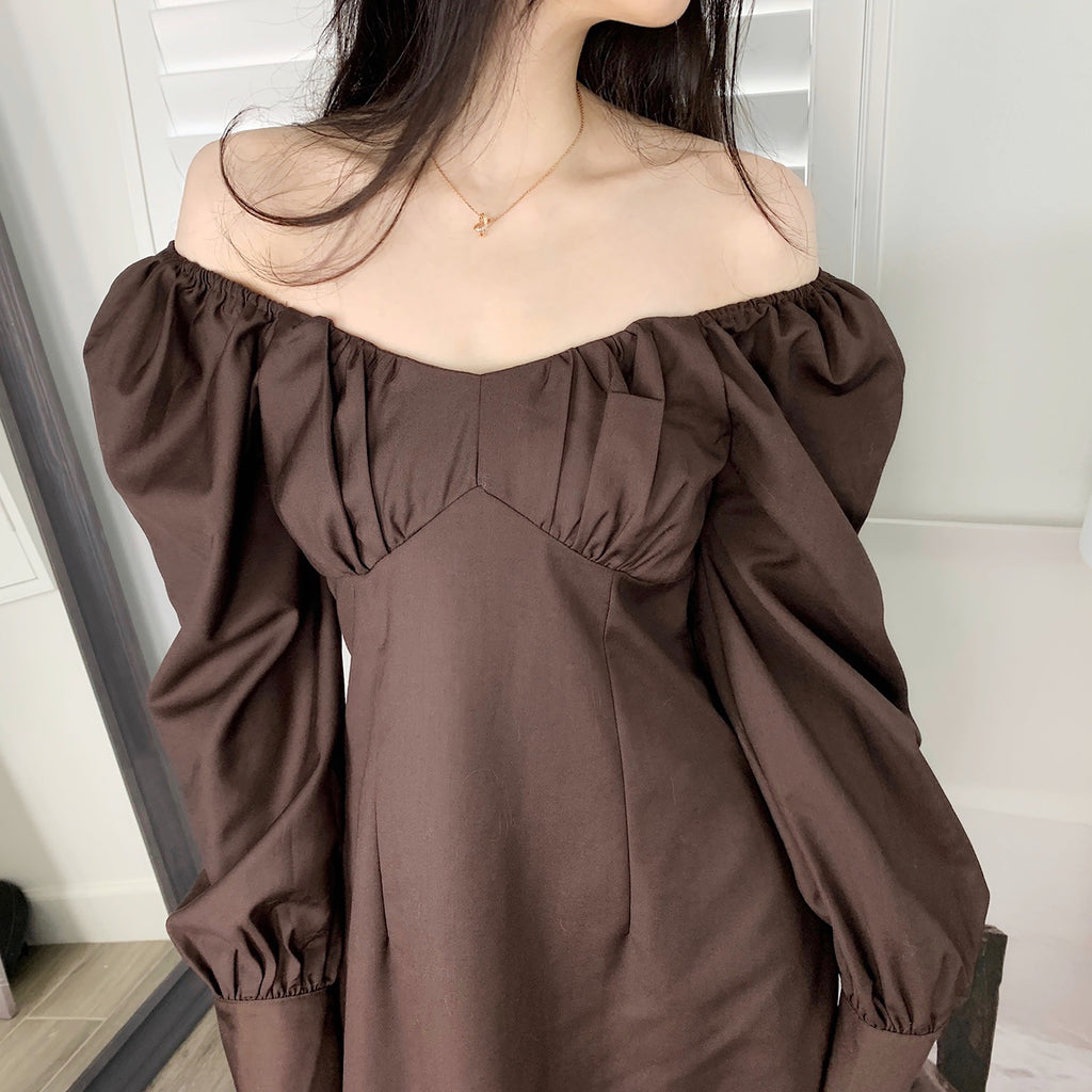 Princess Sleeve Dress - Coffee-MARVOUS WEAR