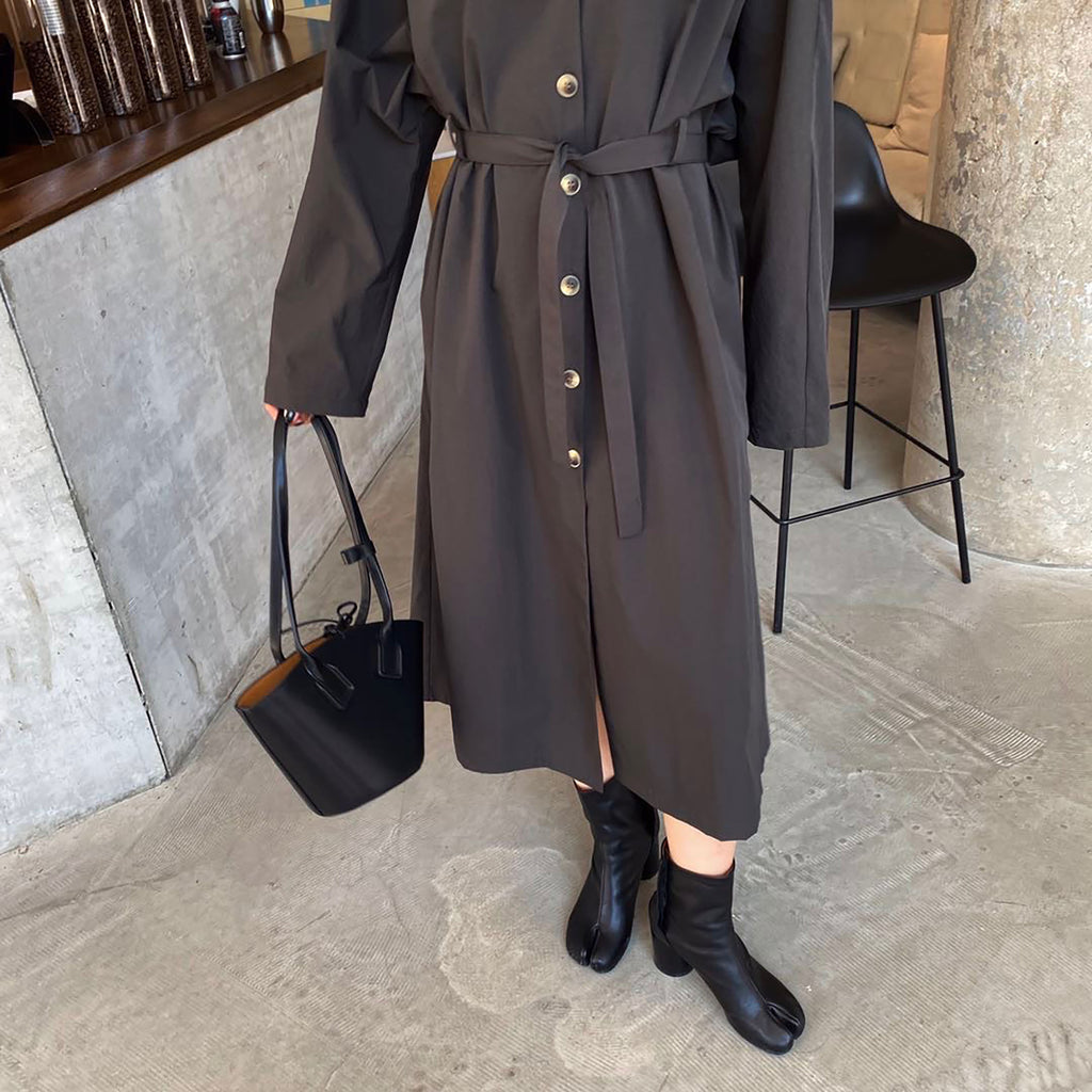 Midi Wind Breaker Dress - Dark Grey-MARVOUS WEAR