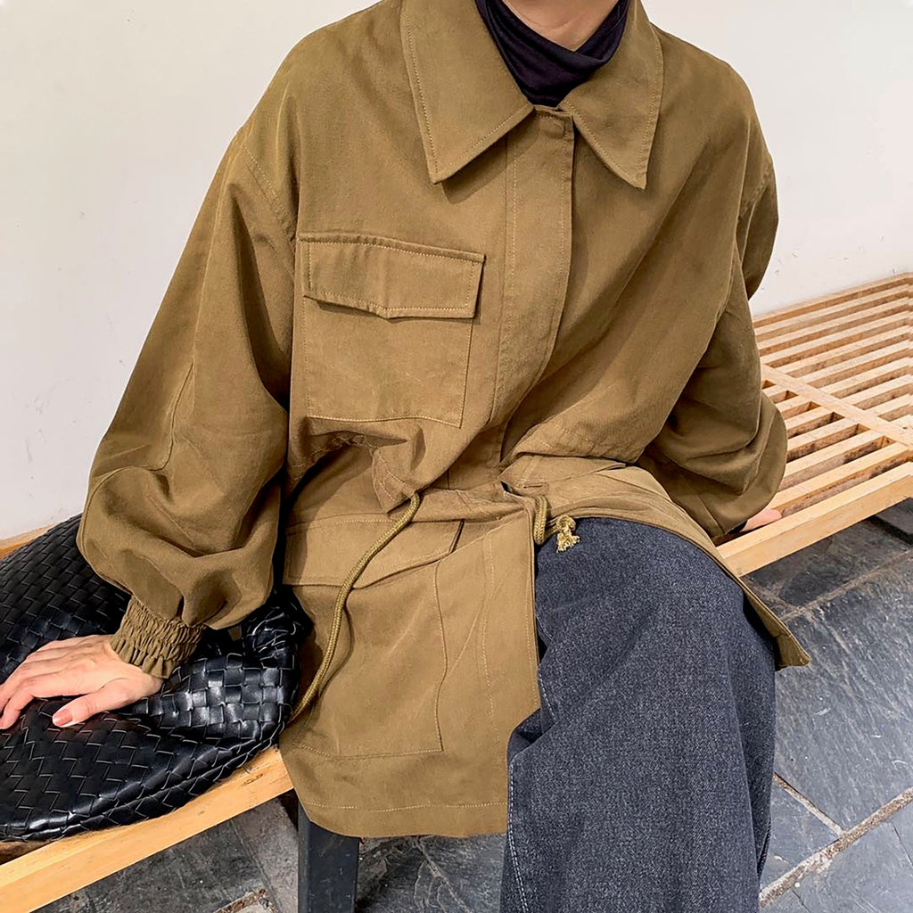 Cargo Jacket - Kakhi-MARVOUS WEAR