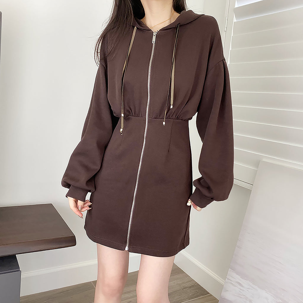 Zip-up Hoodie Mini Dress - Brown-MARVOUS WEAR