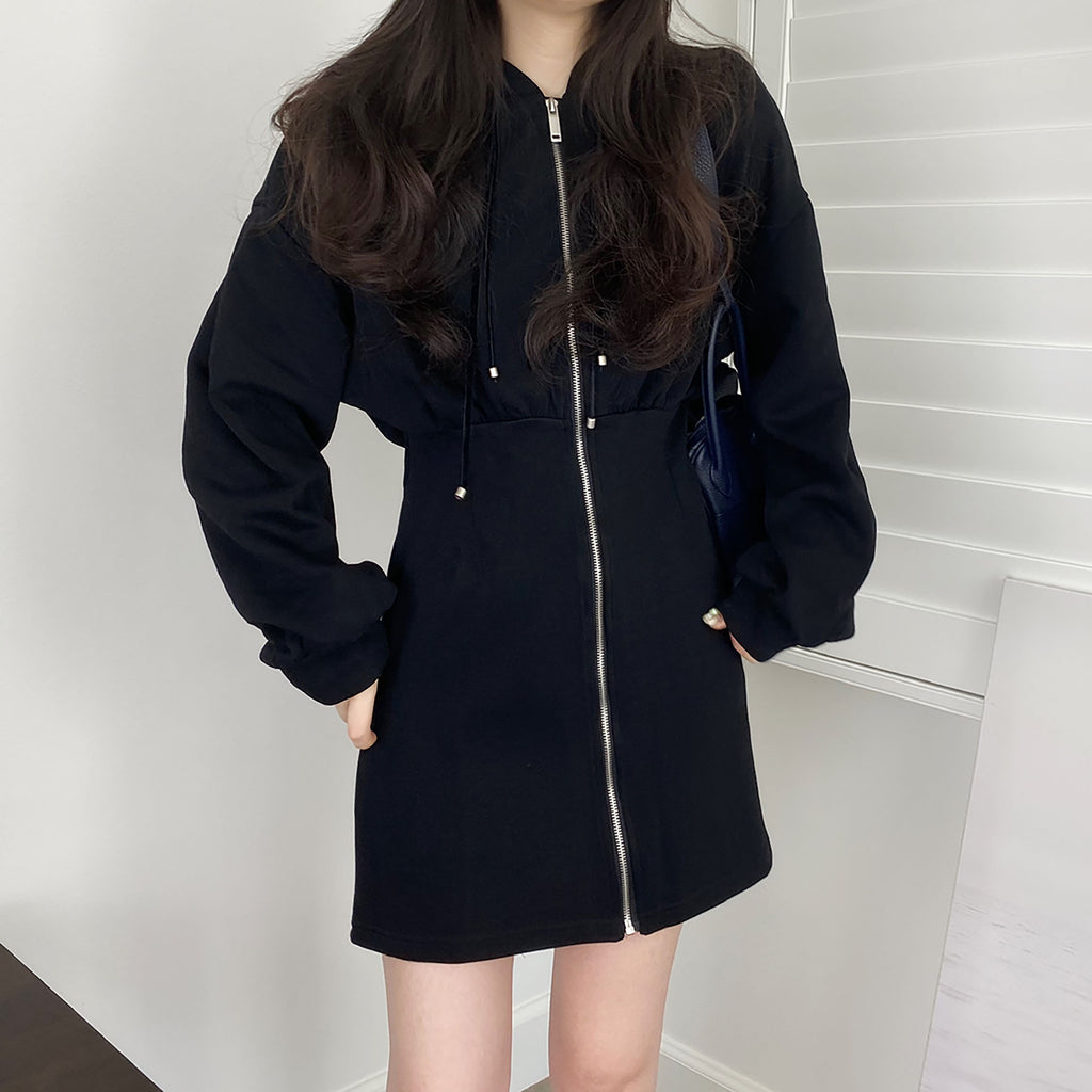Zip-up Hoodie Mini Dress - Black-MARVOUS WEAR