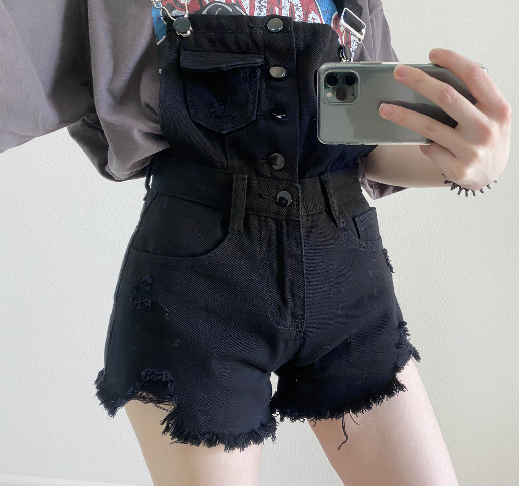 Strap Denim Shorts-MARVOUS WEAR
