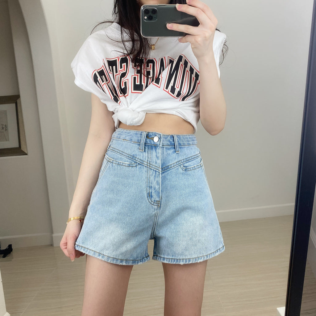 Contrast Yoke Denim Shorts-MARVOUS WEAR