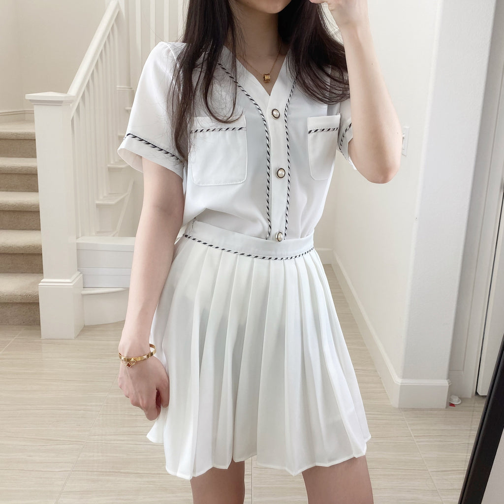 Pleated Skirt Short Sleeve Set 2Pcs-MARVOUS WEAR