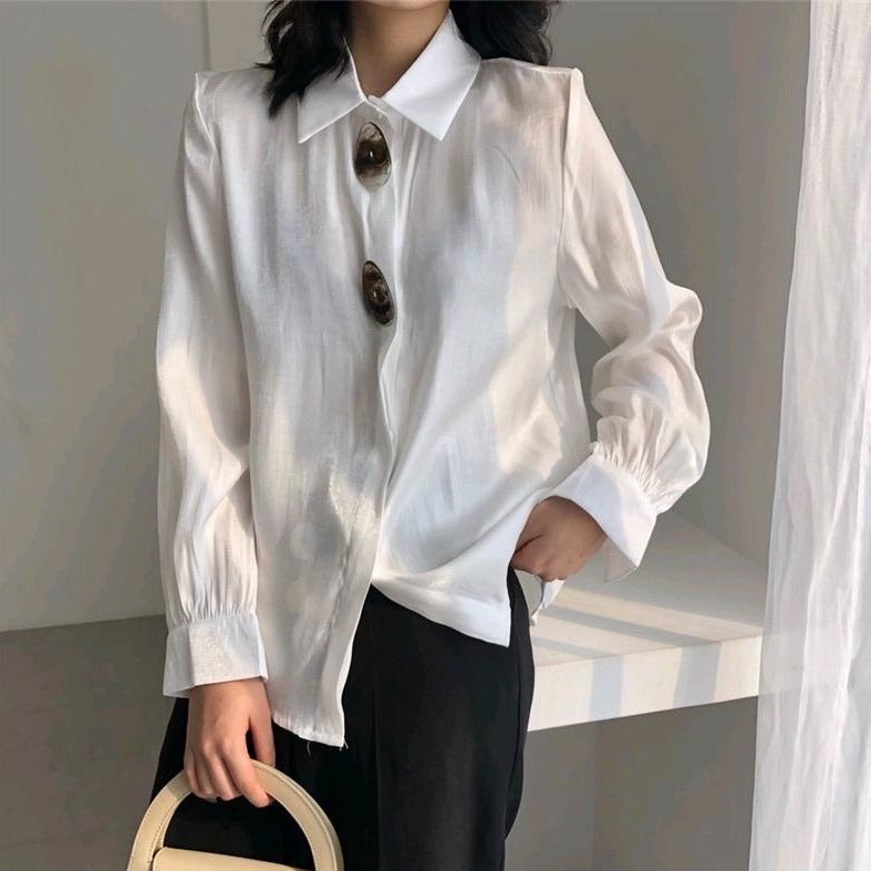 Shell Button Blouse-MARVOUS WEAR