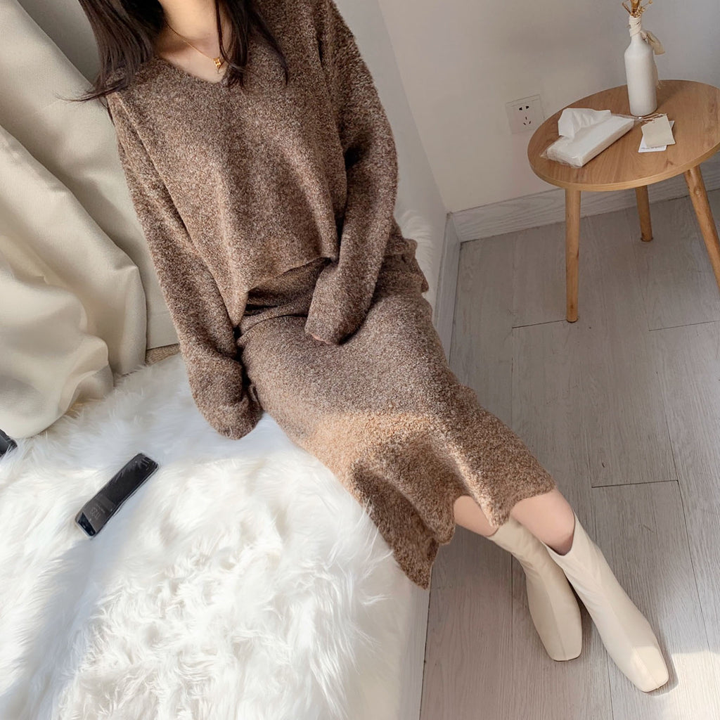 Cashmere Blend Loose Fit Sweater Set 2Pcs-MARVOUS WEAR