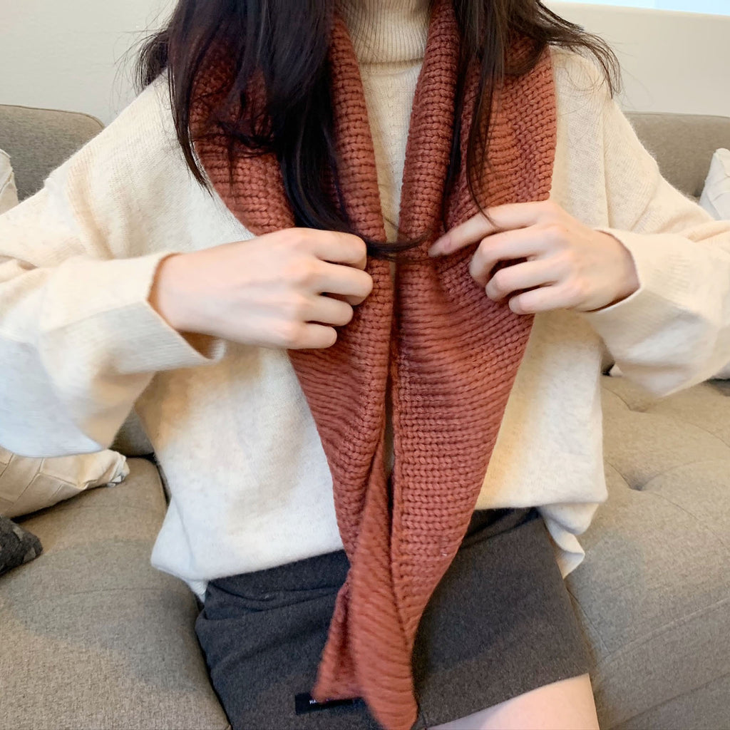 Contrast Knit Scarf-MARVOUS WEAR