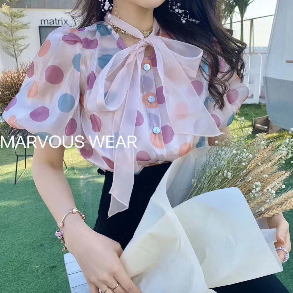 Polka Dot Belt Sleeves Blouse 2Pcs-MARVOUS WEAR