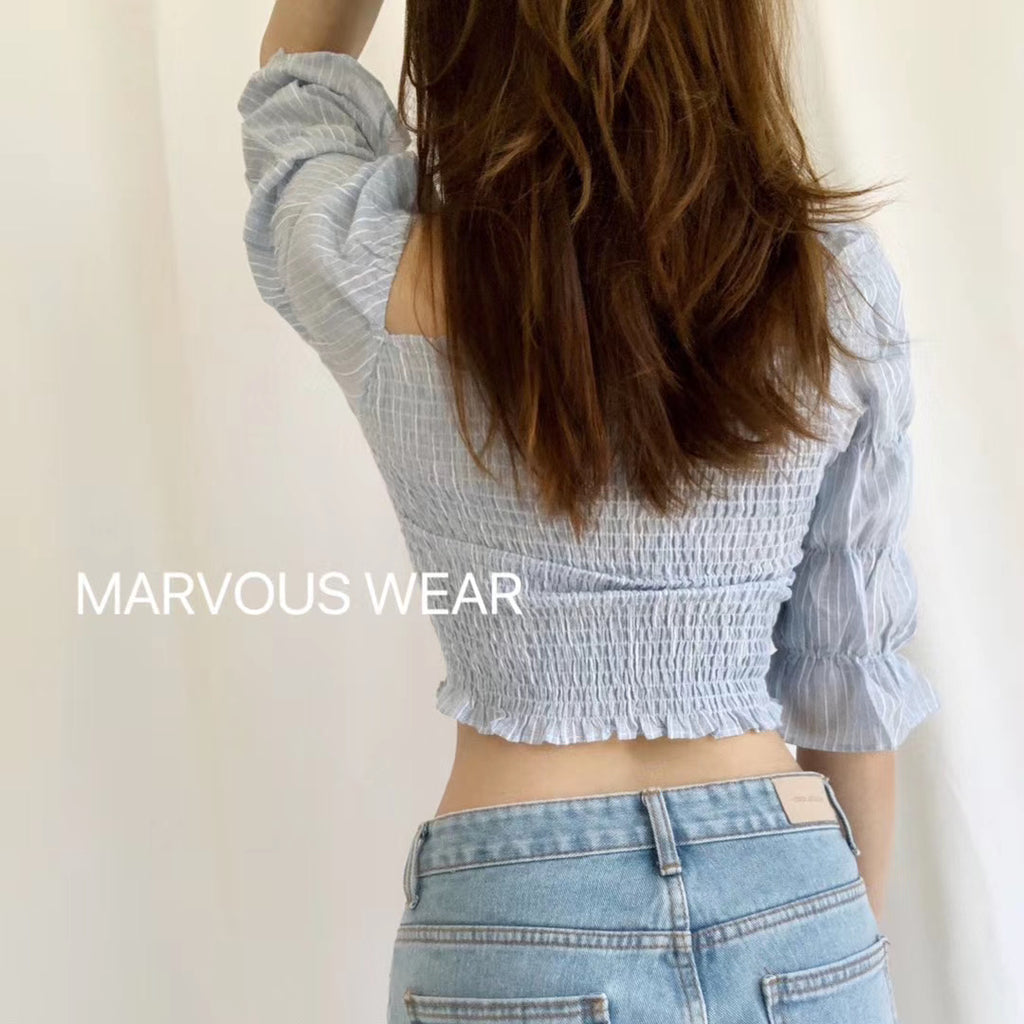 Marie Sleeve Shirred Crop Top-MARVOUS WEAR
