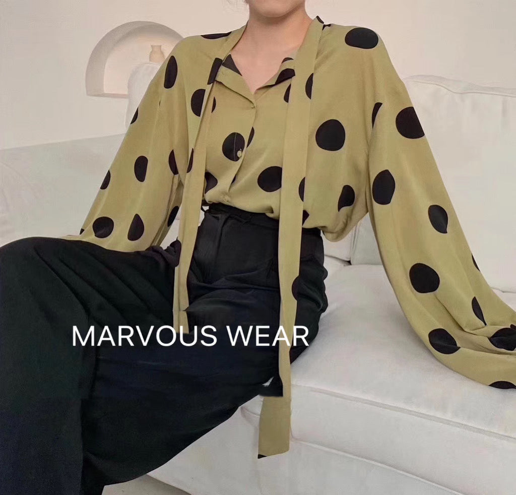 French Polka Dot Silky Shirt-MARVOUS WEAR