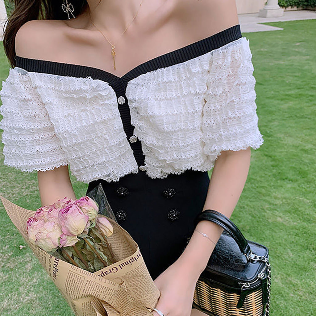 The Sweetest Lace Ruffle Top-MARVOUS WEAR
