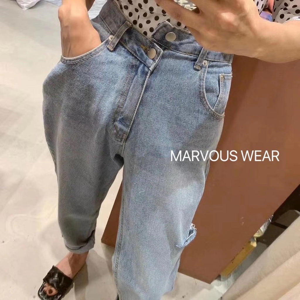 Off Buttons Jeans-MARVOUS WEAR