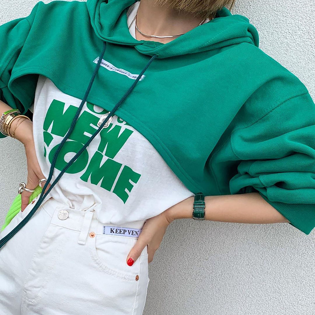 Mini Crop Hoodie - Green-MARVOUS WEAR