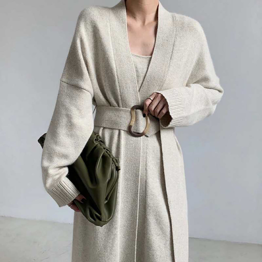 Velvet Mink Cashmere Cardigan - Ivory-MARVOUS WEAR
