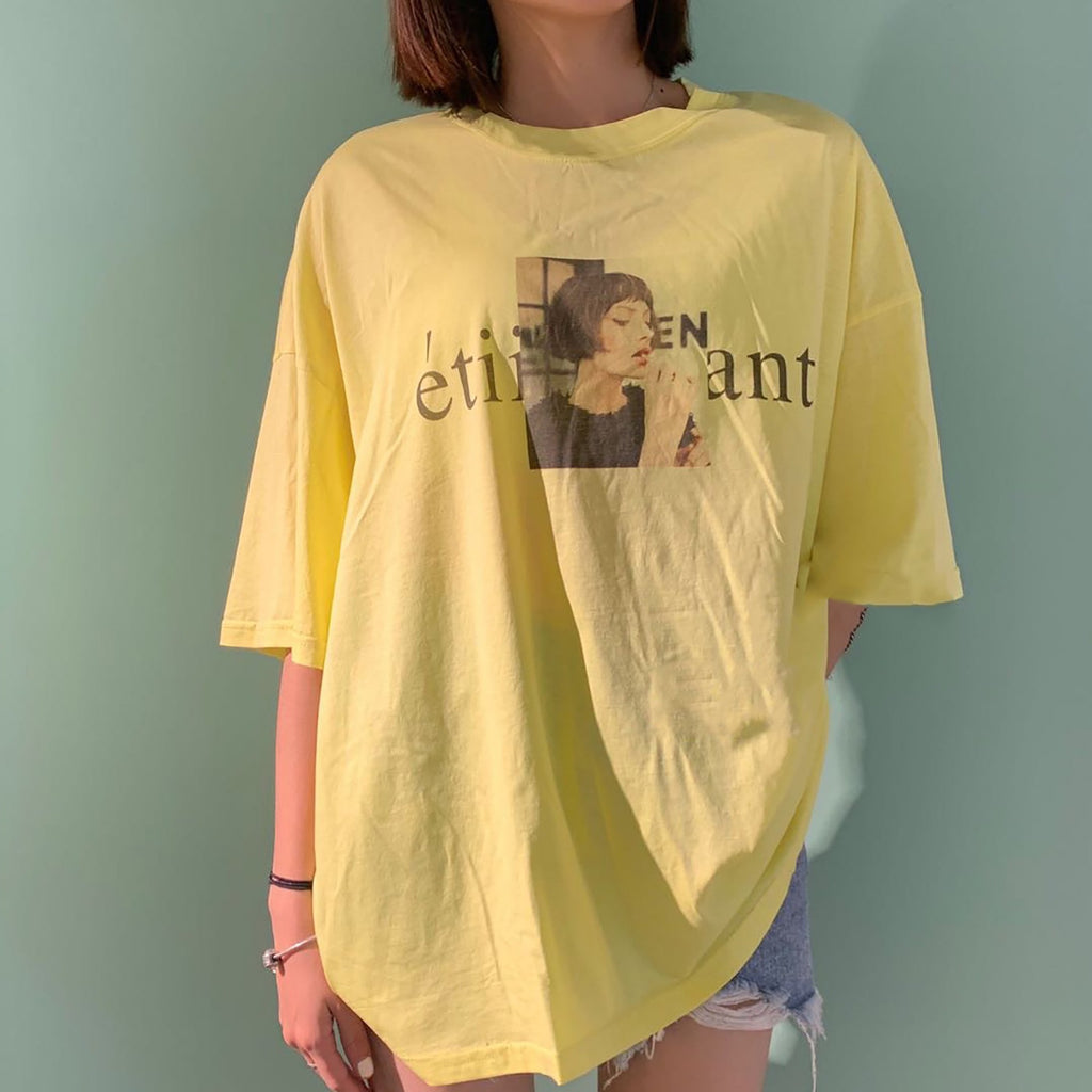 Oversize Lady Print Yellow Tee & Denim Shorts-MARVOUS WEAR