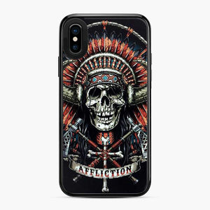 Affliction Indian Skull Drak Blue iPhone X/XS Case