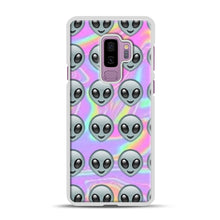 Load image into Gallery viewer, Alien Emoji Holographic Effect 1 Samsung Galaxy S9 Plus Case, White Plastic Case | Webluence.com