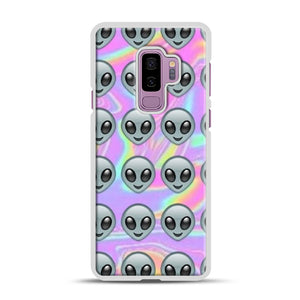 Alien Emoji Holographic Effect 1 Samsung Galaxy S9 Plus Case, White Plastic Case | Webluence.com