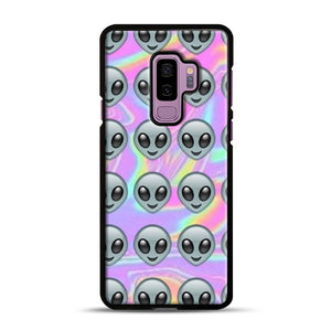 Alien Emoji Holographic Effect 1 Samsung Galaxy S9 Plus Case, Black Rubber Case | Webluence.com