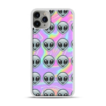 Load image into Gallery viewer, Alien Emoji Holographic Effect 1 iPhone 11 Pro Max Case.jpg, White Plastic Case | Webluence.com