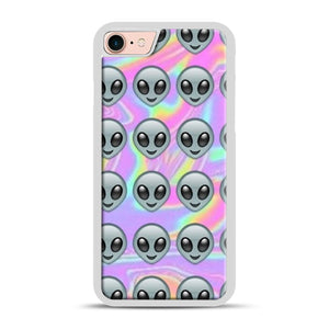 Alien Emoji Holographic Effect 1 iPhone 7/8 Case.jpg, White Plastic Case | Webluence.com