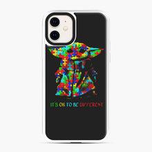 Load image into Gallery viewer, Autism awareness it's ok to be different Baby Yoda iPhone 11 Case, White Plastic Case | Webluence.com