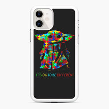 Load image into Gallery viewer, Autism awareness it's ok to be different Baby Yoda iPhone 11 Case, White Rubber Case | Webluence.com