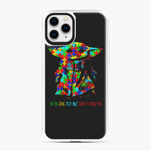 Load image into Gallery viewer, Autism awareness it's ok to be different Baby Yoda iPhone 11 Pro Case, White Plastic Case | Webluence.com