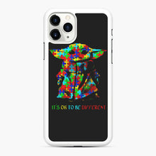Load image into Gallery viewer, Autism awareness it's ok to be different Baby Yoda iPhone 11 Pro Case, White Rubber Case | Webluence.com