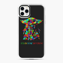 Load image into Gallery viewer, Autism awareness it's ok to be different Baby Yoda iPhone 11 Pro Max Case, White Plastic Case | Webluence.com