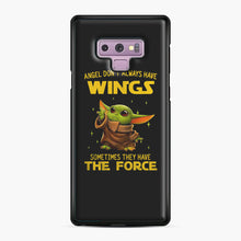 Load image into Gallery viewer, Baby Yoda Angel Don't Have Wings The Force Star Wars Samsung Galaxy Note 9 Case, Black Plastic Case | Webluence.com