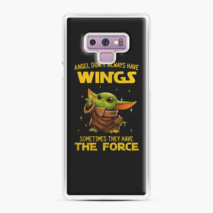 Baby Yoda Angel Don't Have Wings The Force Star Wars Samsung Galaxy Note 9 Case, White Plastic Case | Webluence.com