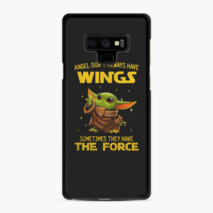 Baby Yoda Angel Don't Have Wings The Force Star Wars Samsung Galaxy Note 9 Case, Black Rubber Case | Webluence.com