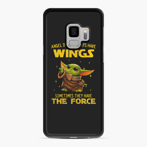 Baby Yoda Angel Don't Have Wings The Force Star Wars Samsung Galaxy S9 Case, Black Rubber Case | Webluence.com