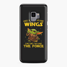 Load image into Gallery viewer, Baby Yoda Angel Don't Have Wings The Force Star Wars Samsung Galaxy S9 Case, Black Plastic Case | Webluence.com