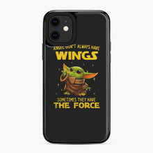 Load image into Gallery viewer, Baby Yoda Angel Don't Have Wings The Force Star Wars iPhone 11 Case, Black Plastic Case | Webluence.com