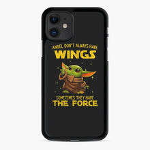 Load image into Gallery viewer, Baby Yoda Angel Don't Have Wings The Force Star Wars iPhone 11 Case, Black Rubber Case | Webluence.com