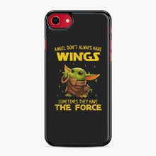 Load image into Gallery viewer, Baby Yoda Angel Don't Have Wings The Force Star Wars iPhone 7/8 Case, Black Plastic Case | Webluence.com