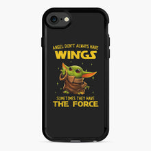 Load image into Gallery viewer, Baby Yoda Angel Don't Have Wings The Force Star Wars iPhone 7/8 Case, Black Rubber Case | Webluence.com