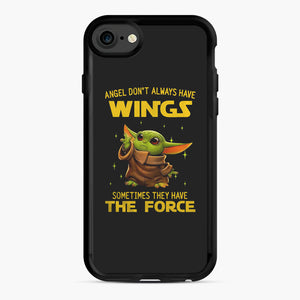 Baby Yoda Angel Don't Have Wings The Force Star Wars iPhone 7/8 Case, Black Rubber Case | Webluence.com