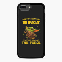Load image into Gallery viewer, Baby Yoda Angel Don't Have Wings The Force Star Wars iPhone 7,8 Plus Case, Black Rubber Case | Webluence.com