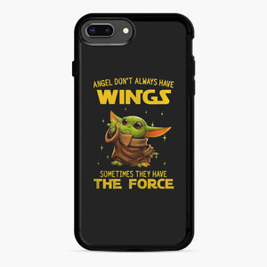 Baby Yoda Angel Don't Have Wings The Force Star Wars iPhone 7,8 Plus Case, Black Rubber Case | Webluence.com